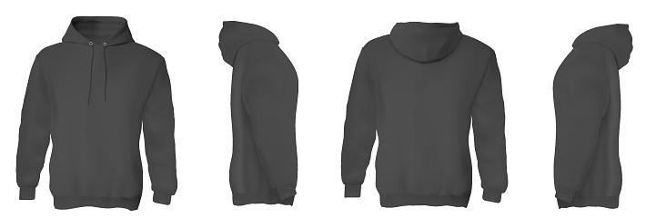 Man hoodie. Black blank male sweatshirts with hood template set