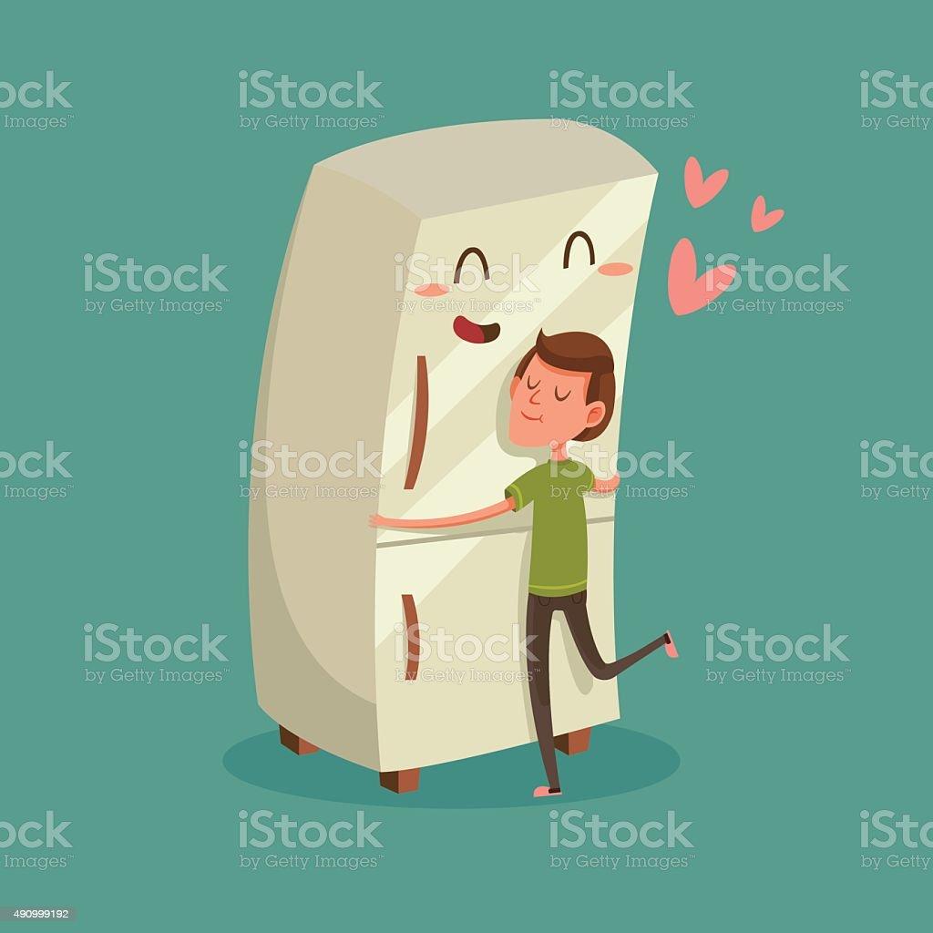 Man Hugging Refrigerator vector art illustration