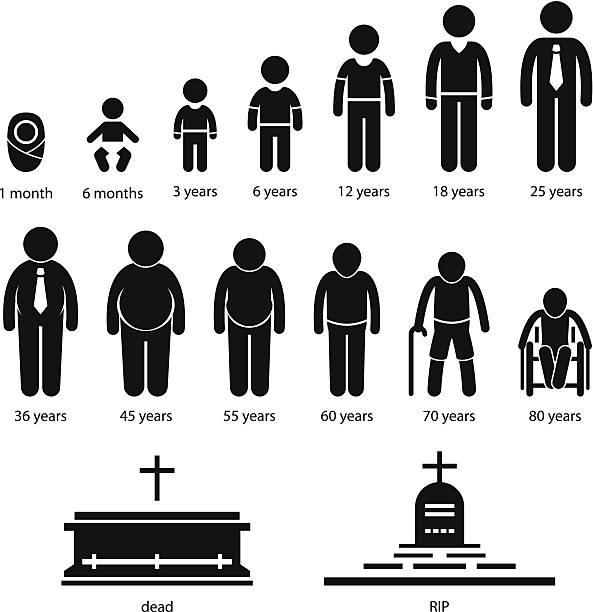 illustrazioni stock, clip art, cartoni animati e icone di tendenza di invecchiamento umano uomo crescente processo pittogramma - man evolution