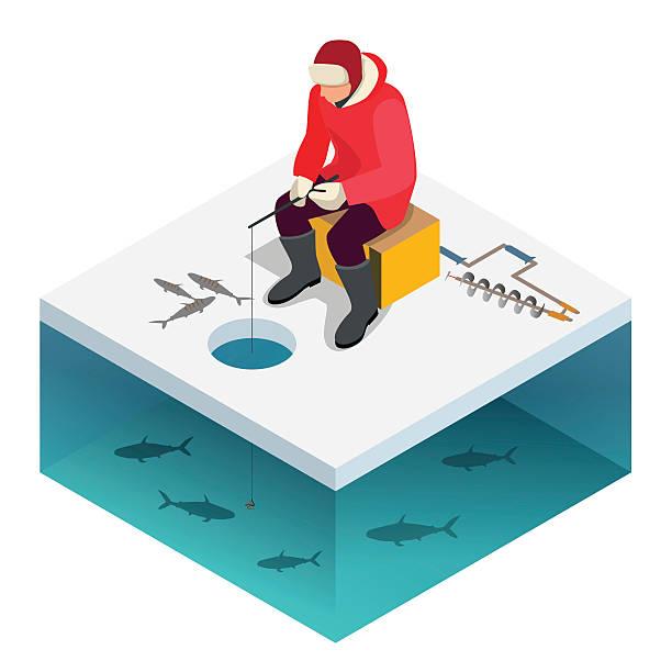 man ice fishing on a lake in winter - seehecht stock-grafiken, -clipart, -cartoons und -symbole
