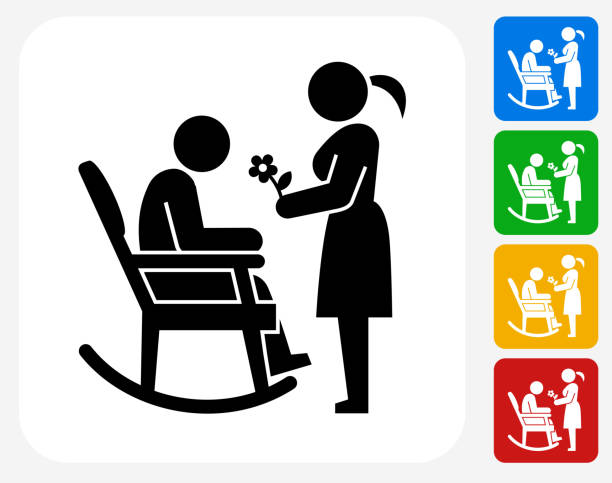 man icon flat graphic design - old man in rocking chair silhouette stock illustrations, clip art, cartoons, & icons