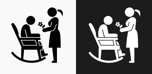 man icon on black and white vector backgrounds - old man rocking chair clip art stock illustrations, clip art, cartoons, & icons