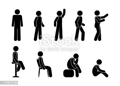 man icon, pictograms set people are sitting, people are standing in various poses, stick figure isolated characters