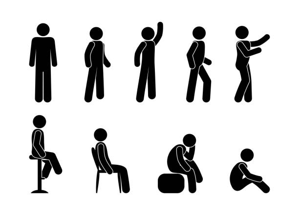 man icon, pictograms set people are sitting, people are standing in various poses, stick figure - контурный рисунок stock illustrations