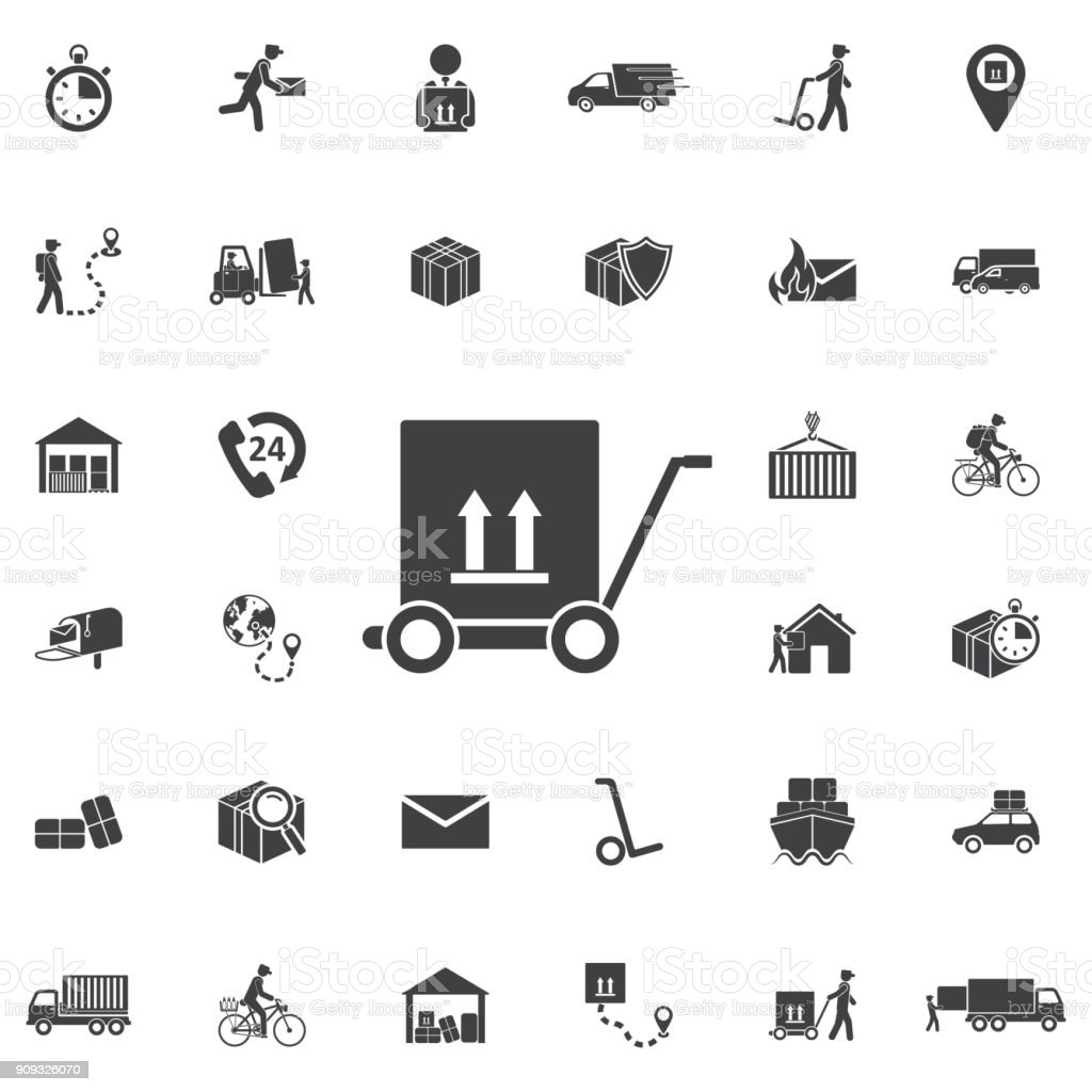 man icon with trolley.vector illustration.