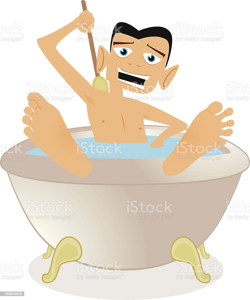 Man in a Bath Cartoon vector art illustration