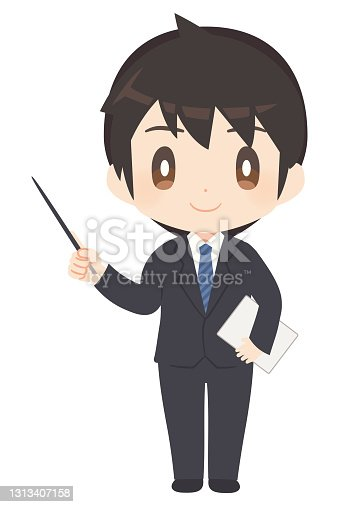 istock Man in a business suit with a pointer 1313407158