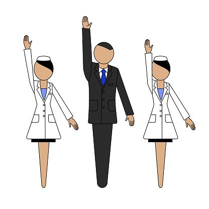 Man in a business suit,  woman in a white coat. Sign and symbol. Template. Pharmacy and medicine.