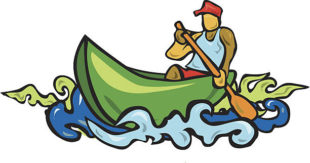 Man in a canoe vector art illustration