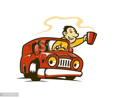 Man in red car with cup of hot coffee or tea - cartoon character vector illustration