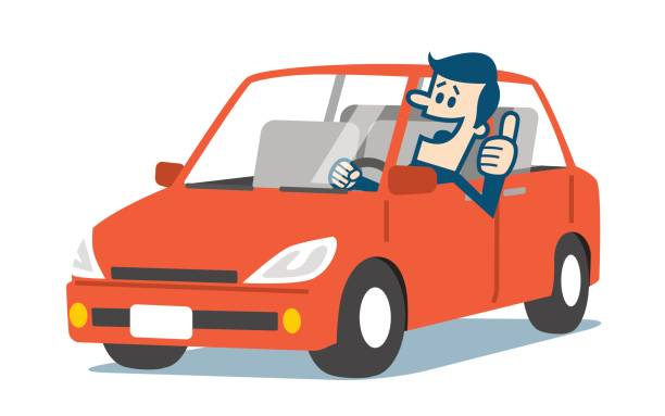 Man in a car with thumbs up vector art illustration
