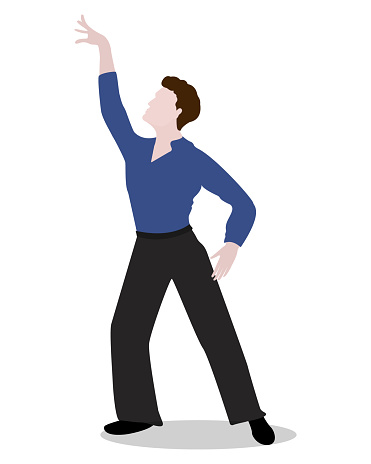 Man in a dance pose isolated on a white background