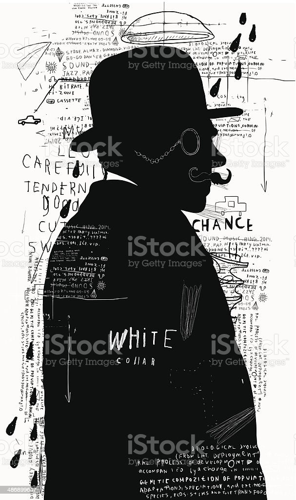 Man in a hat and pince-nez vector art illustration