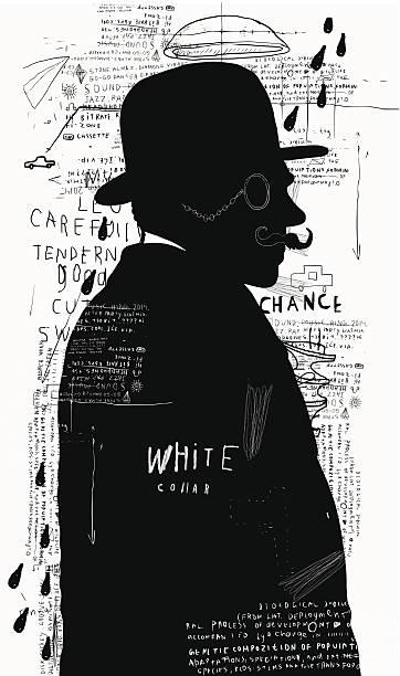 Man in a hat and pince-nez A man in a hat and pince-nez that stands alone sherlock holmes stock illustrations