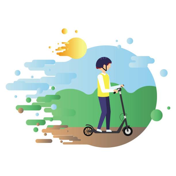 illustrazioni stock, clip art, cartoni animati e icone di tendenza di man in a helmet rides on an electric scooter on the background of nature - monopattino elettrico
