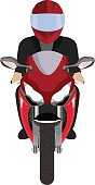Man in a helmet riding motorcycle. Front view