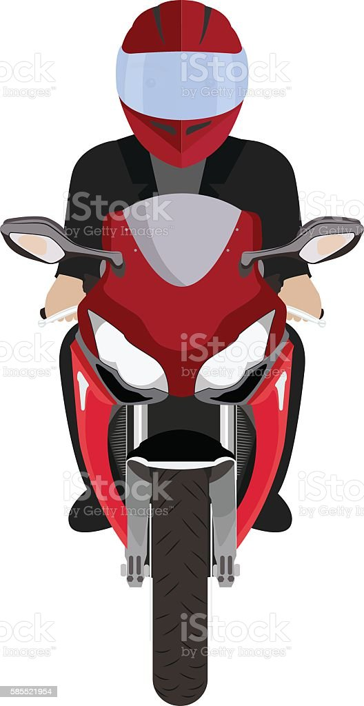 Man in a helmet riding motorcycle. Front view vector art illustration