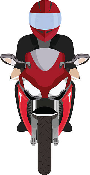 man in a helmet riding motorcycle. front view - fahrzeug fahren stock-grafiken, -clipart, -cartoons und -symbole
