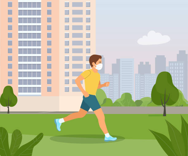 Man in a medical mask runs through the park. Vector flat style illustration. vector art illustration