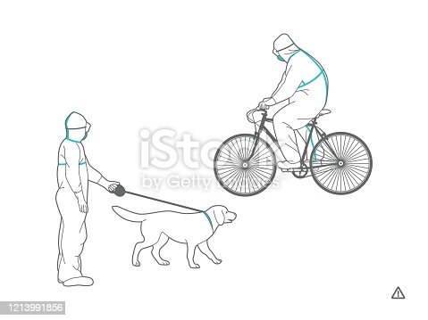 A man in a protective suit rides a bicycle and walks a dog in the park. Full body protective clothes. Personal protective equipment against viruses and pesticides.