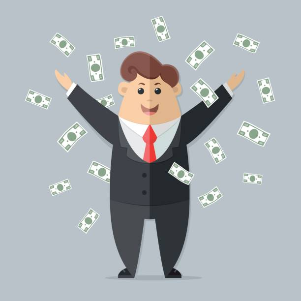 Man in a suit with a red tie getting a lot of money. boss, office worker, manager, banker,  businessman. Flat vector icon, illustration Man in a suit with a red tie getting a lot of money. boss, office worker, manager, banker,  businessman. Flat vector icon, illustration bonus march stock illustrations