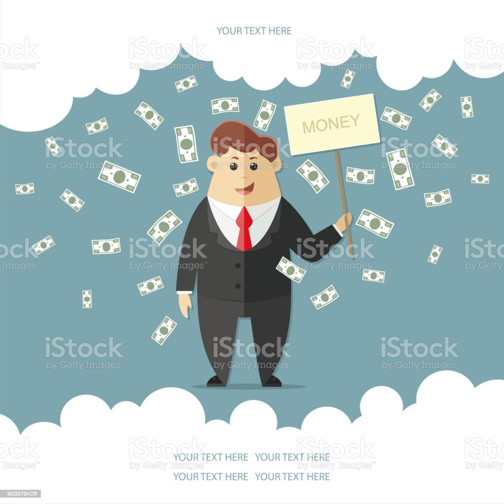 Man in a suit with a red tie getting a lot of money. boss, office worker, manager, banker,  businessman. Flat vector icon, illustration vector art illustration
