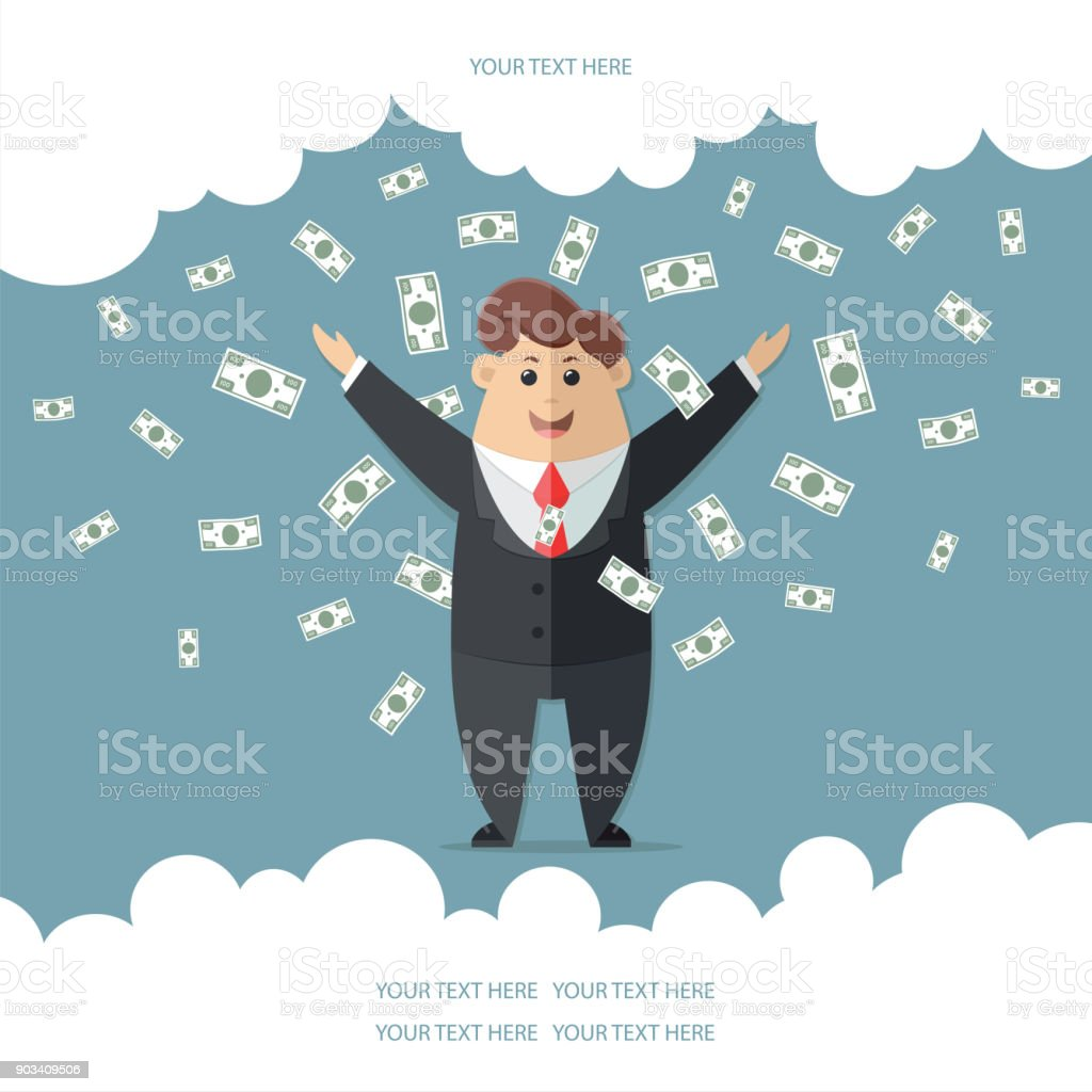 Man in a suit with a red tie getting a lot of money. boss, office worker, manager, banker,  businessman. cacheback. Flat vector icon, illustration vector art illustration