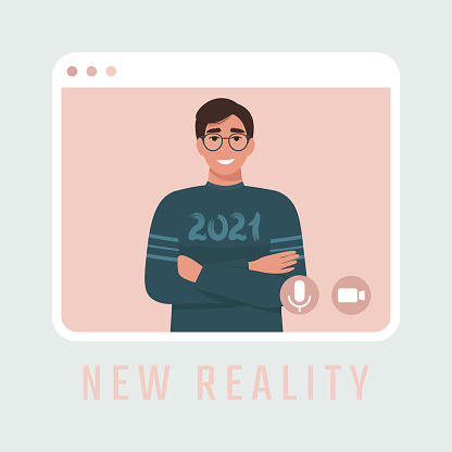 Man in a sweatshirt with the inscription 2021 in a video call frame as a symbol of a new reality. Flat vector illustration