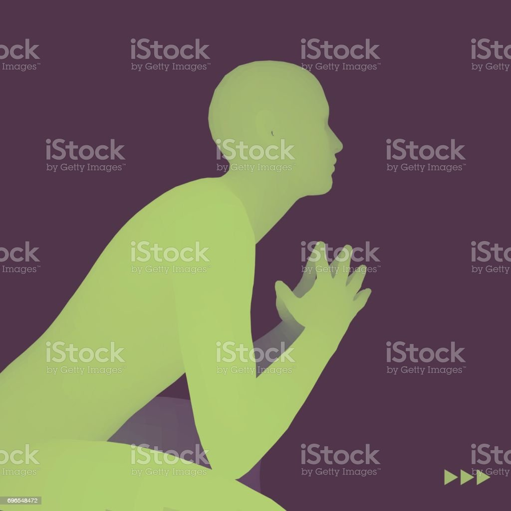 Man in a Thinker Pose. 3D Model of Man. Business, Psychology or Philosophy Vector Illustration. vector art illustration