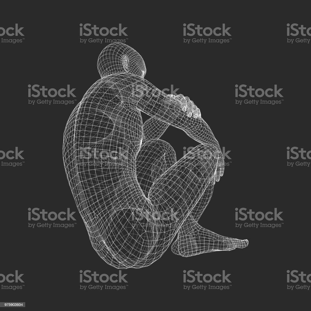Mann In Einer Denker Pose 3d Modell Des Man Geometrische Designs ...