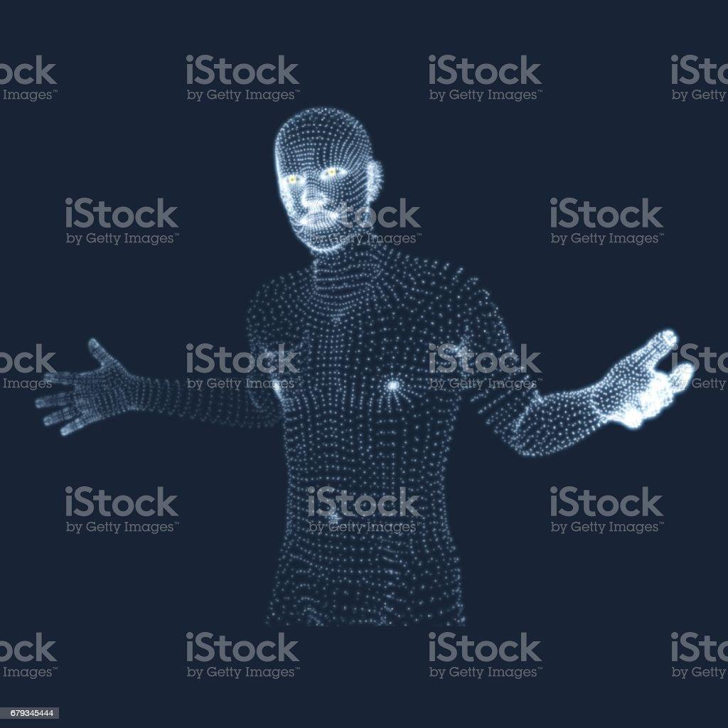 Man in a thinker pose. 3D model of man. Geometric design. Psychology or philosophy vector illustration. vector art illustration