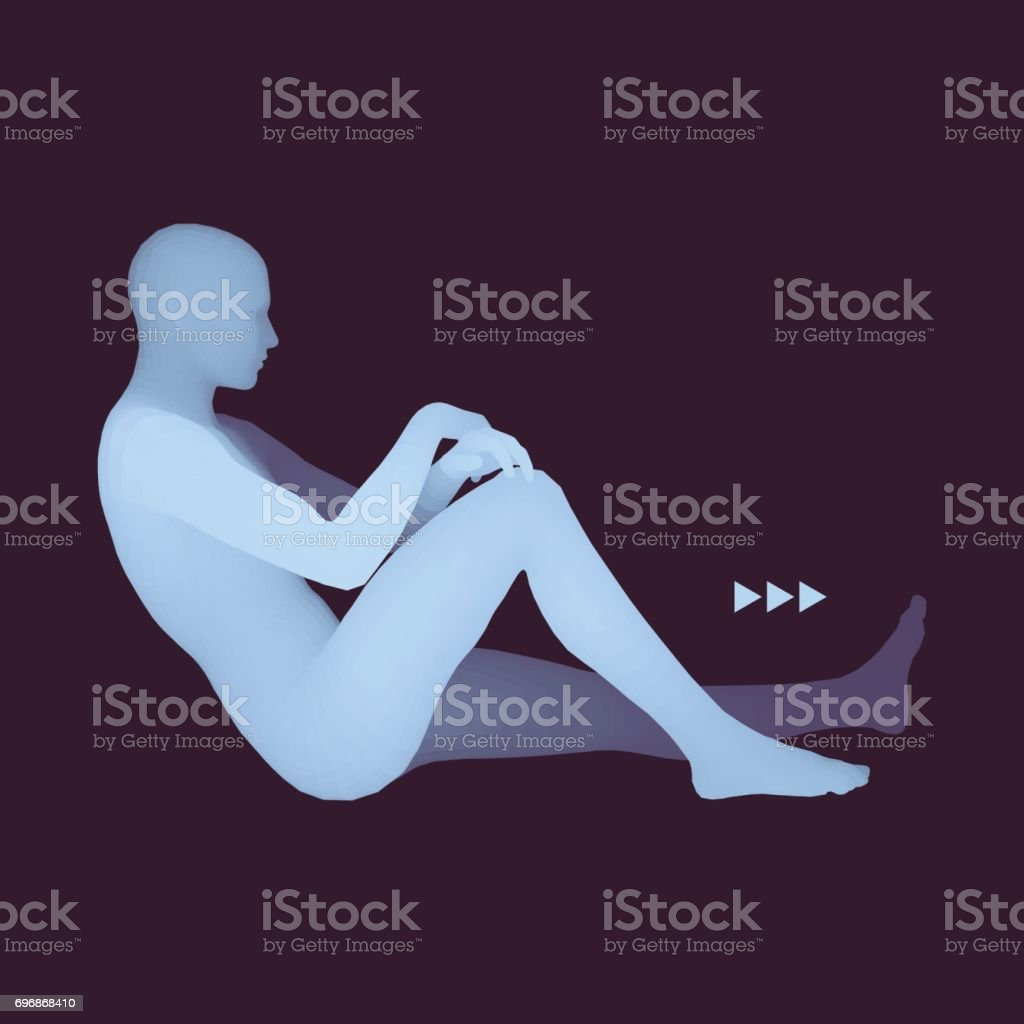 Man in a Thinker Pose. 3D Model of Man. Psychology or Philosophy Vector Illustration. vector art illustration