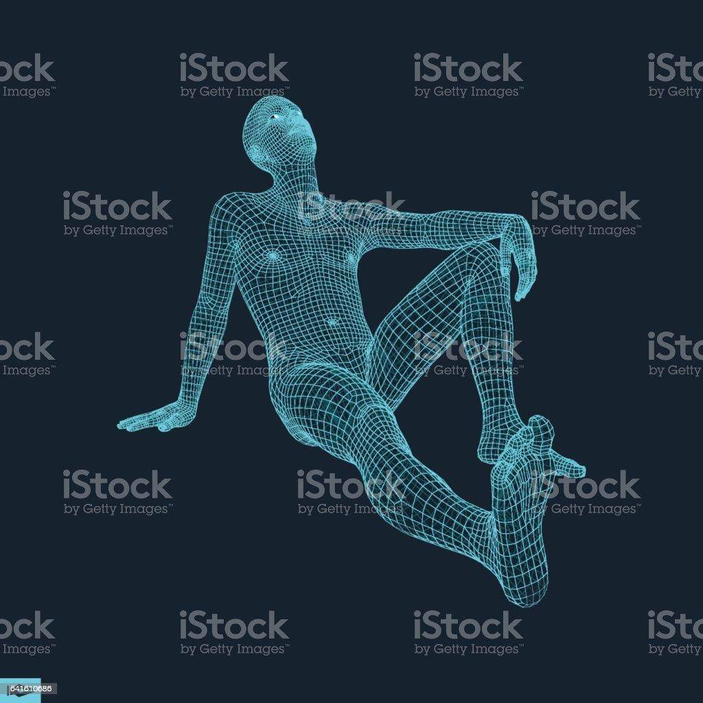 Man in a Thinker Pose. 3D Model of Man. vector art illustration