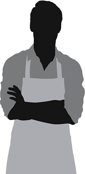 Man in apron standing with arms crossed Man in apron standing with arms crossedhttp://www.twodozendesign.info/i/1.png apron isolated stock illustrations
