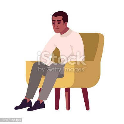 istock Man in armchair semi flat RGB color vector illustration. Guy feeling uncomfrotable. Pensive person on chair. Interviewee. Psychology consultation. Isolated cartoon character on white background 1227184194