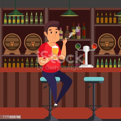 istock Man in bar flat vector illustration 1171939768