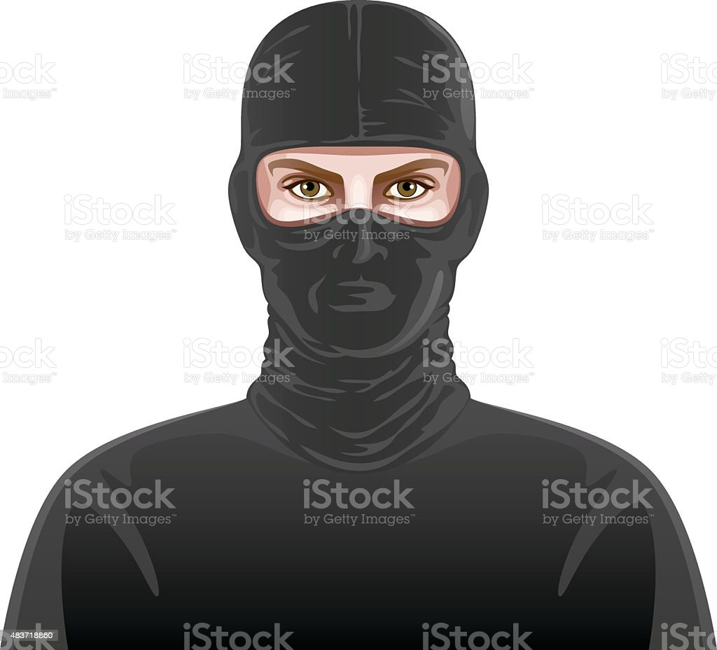 Man in black mask vector art illustration
