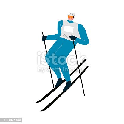 Man in blue winter suit skiing fast down the mountain. Vector illustration in the flat cartoon style