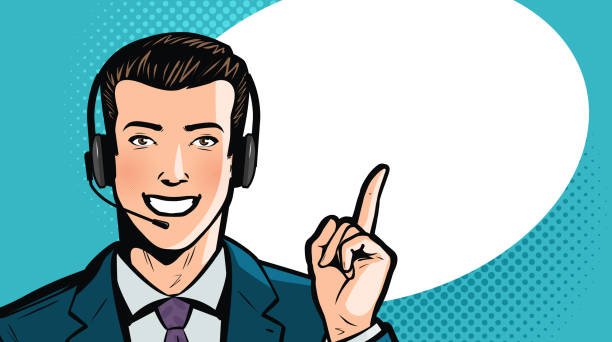 illustrations, cliparts, dessins animés et icônes de homme en costume d'affaires ou homme d'affaires avec casque dit. call center, soutien, notion de service. illustration de vecteur de dessin animé - dispatcheur
