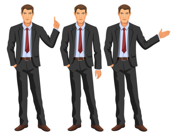 illustrazioni stock, clip art, cartoni animati e icone di tendenza di man in business suit with tie. handsome guy, gesturing. elegant businessman in different poses. stock vector. - bello