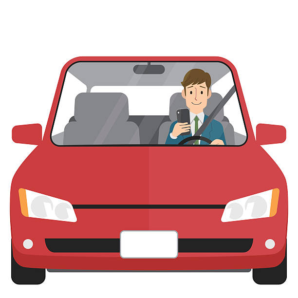Man in car looking at smartphone vector art illustration