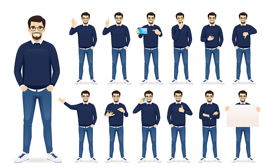 Man in casual clothes set