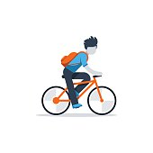 Daily riding by bike to business, isolated vector flat design illustration