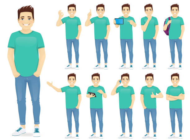 ilustrações de stock, clip art, desenhos animados e ícones de man in casual outfit set - gesticular
