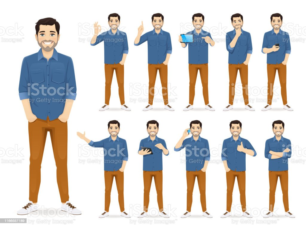 Man in casual outfit set - Royalty-free A usar um telefone arte vetorial