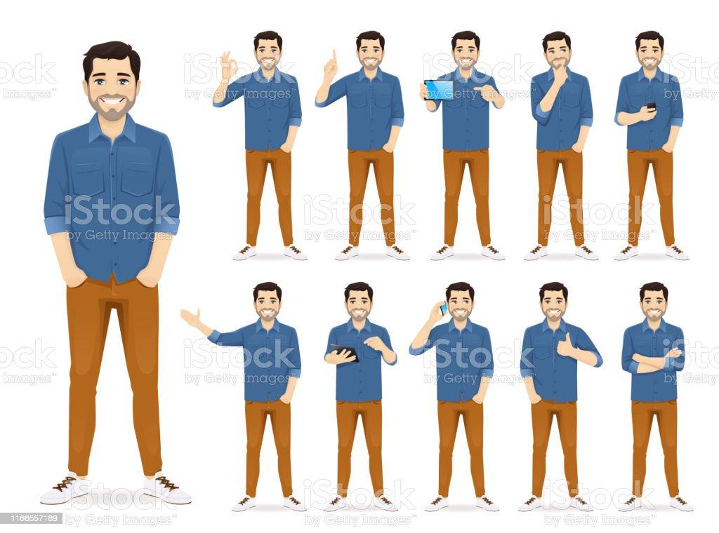 Mann im lässigen Outfit-Set - Lizenzfrei Am Telefon Vektorgrafik