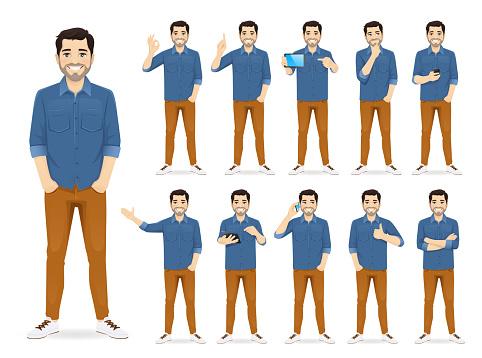 Man I Casual Outfit Set-vektorgrafik och fler bilder på Affärsman