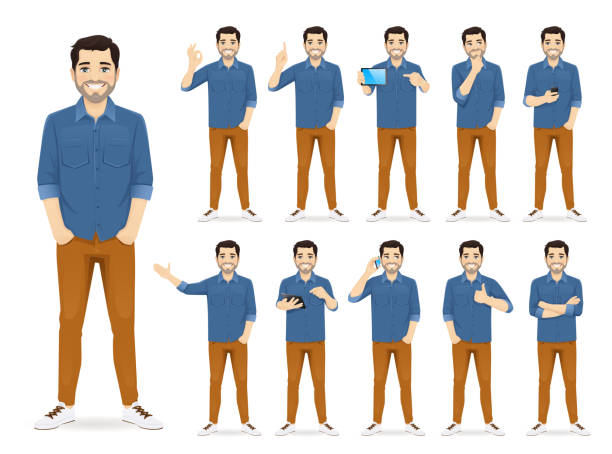 stockillustraties, clipart, cartoons en iconen met man in casual outfit set - jong volwassen
