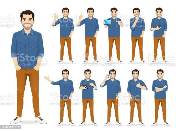 Mann Im Lässigen Outfitset Stock Vektor Art und mehr Bilder von Am Telefon