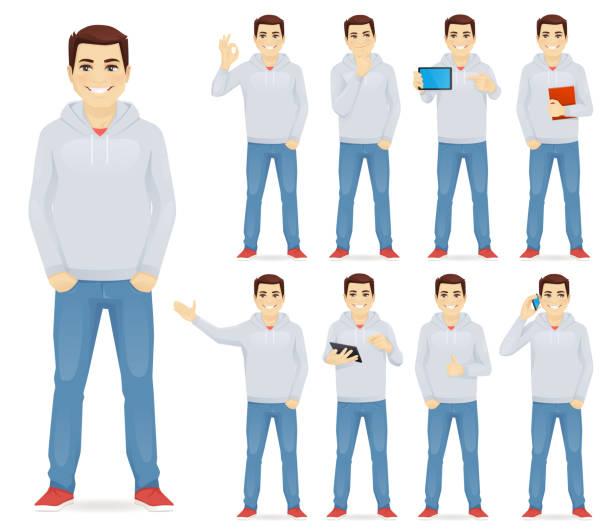 ilustrações de stock, clip art, desenhos animados e ícones de man in casual outfit set - homem casual standing sorrir